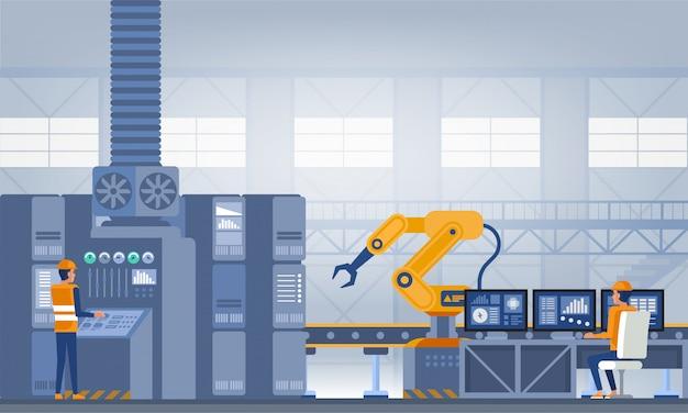 Przemysł 4.0 koncepcja inteligentnej fabryki. ilustracja wektorowa technologii