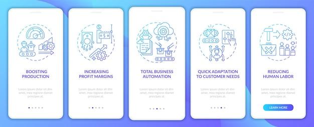 Przemysł 4.0 ma na celu wprowadzenie koncepcji na ekran aplikacji mobilnej. całkowita automatyzacja, przewodnik po redukcji pracy ludzkiej 5-etapowy szablon interfejsu użytkownika z kolorowymi ilustracjami rgb