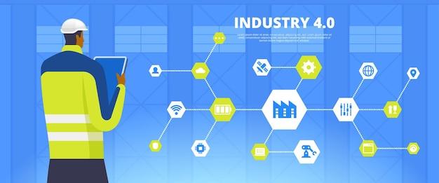 Przemysł 4.0. postać z kreskówki pracownika nowoczesnej fabryki. cyfrowy system kontroli produkcji