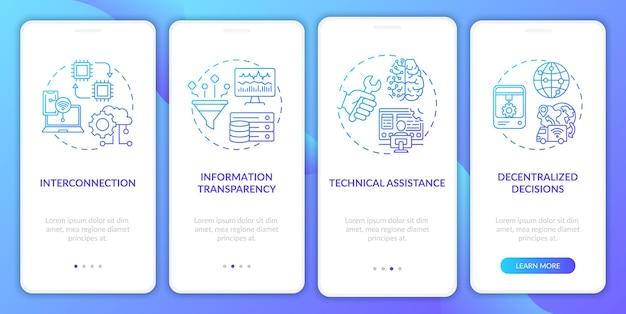 Przemysł 4.0 wprowadzający ekran aplikacji mobilnej z koncepcjami. wzajemne połączenia, zdecentralizowane podejmowanie decyzji w 4 krokach szablon interfejsu użytkownika z kolorowymi ilustracjami rgb