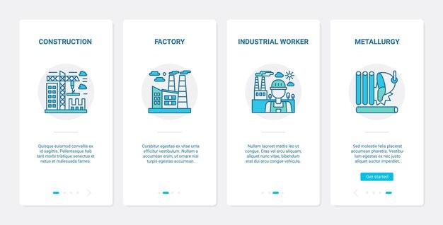 Przemysł metalurgiczny, ux budowy instalacji, zestaw ekranów strony aplikacji mobilnej ui