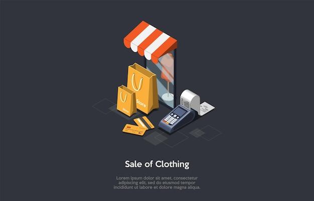 Przemysł mody, sprzedaż koncepcji ubrania. manekin stojący w oknie sklepu. przechowuj torby, karty kredytowe i czek bankowy.