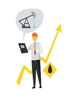 Przemysł naftowy. inżynier lub olejarz w procesie pracy zawodowej na białym tle. kontroluj wydobycie lub transport ropy i benzyny na płaskiej ikonie kreskówek. ilustracja na białym tle wektor.
