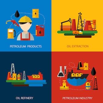 Przemysł naftowy kolorowy płaski zestaw