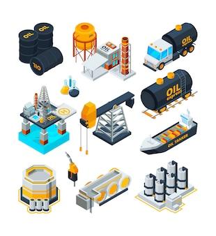 Przemysł naftowy. stacja benzynowa zbiorniki produkcyjne maszyny fabryczne technologie transport izometryczny zbiór wektorów energii. przemysł gazu naftowego, ilustracja energii mocy