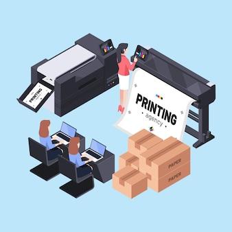 Przemysł poligraficzny ilustracji izometrycznej