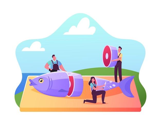 Przemysł rybny, ilustracja gotowania owoców morza