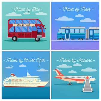 Przemysł turystyczny. podróż pociągiem. podróż autobusem. cruise liner travel. podróż samolotem.