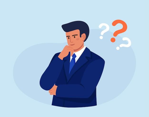 Przemyślana osoba. inteligentny człowiek myśli lub rozwiązuje problem. zamyślony facet otoczony znakiem zapytania. zdezorientowany człowiek myśli, próbując znaleźć rozwiązanie. myląca sytuacja