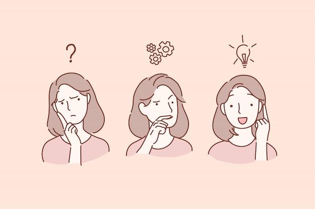 Przemyślane poważne młode kobiety z ręką na nim, które mają wątpliwości, zastanawiają się i znajdują rozwiązanie.