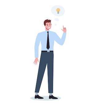 Przemyślani ludzie biznesu. człowiek myślący w poszukiwaniu rozwiązań problemu. osoba wylęgająca się.