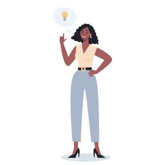 Przemyślani ludzie biznesu. kobieta myśli w poszukiwaniu rozwiązań problemu. osoba wylęgająca się.