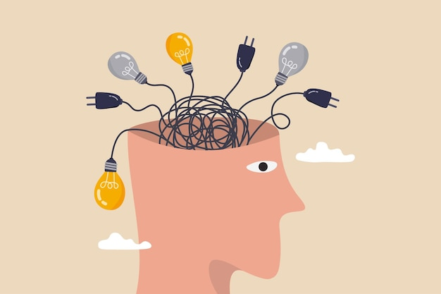 Przemyślanie, niepokój spowodowany zbyt dużym myśleniem, zagubienie się w decyzji o chaosie, pomieszany proces lub koncepcja myśli zamieszania, ludzka głowa z niechlujną linią kablową chaosu z wtyczką elektryczną i pomysłami na żarówkę.