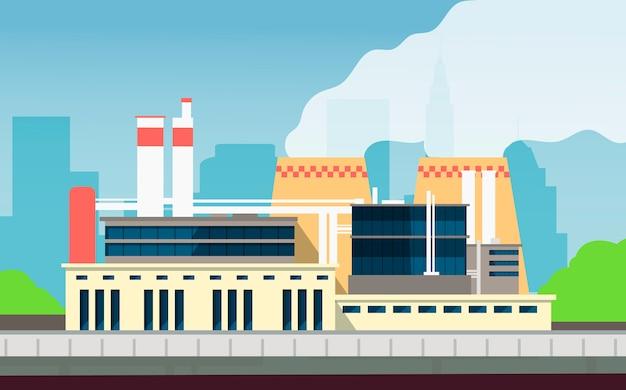 Przemysłowa fabryczna budynek budowy powierzchowność z miasto krajobrazem. zakład ochrony środowiska i technologii ekologicznych