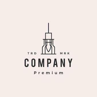 Przemysłowa lampa wisząca wisząca żarówka hipster vintage logo szablon