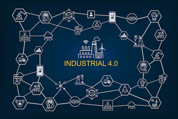 Przemysłowe 4.0 infographic i inteligentne ikony wytwarzania na diagramie.
