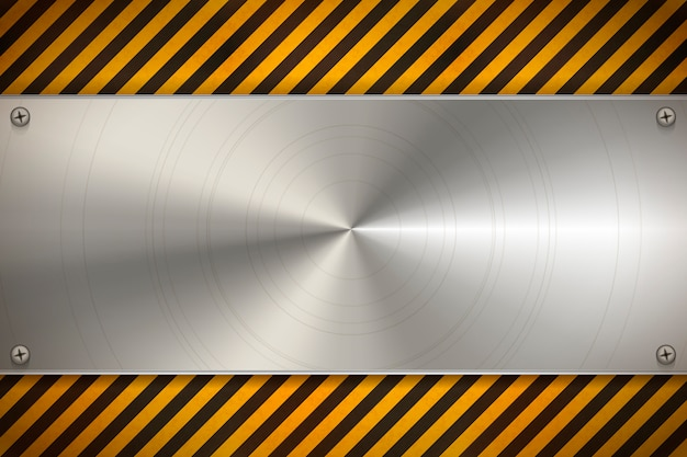 Przemysłowe tło z metalową pustą płytą na zużyty wzór ostrzegawczy w czerwone i białe paski