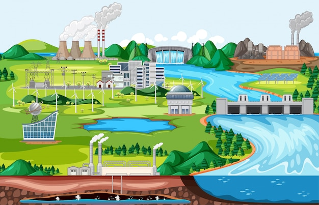 Przemysłowy budynek fabryki ze sceną krajobrazową po stronie rzeki w stylu cartoon