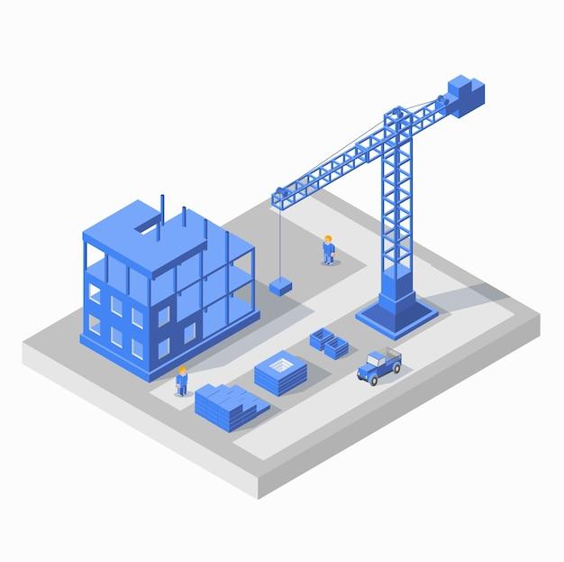 Przemysłowy budynek miejski z żurawiami budowlanymi i budynkami, samochód, cywilny silnik