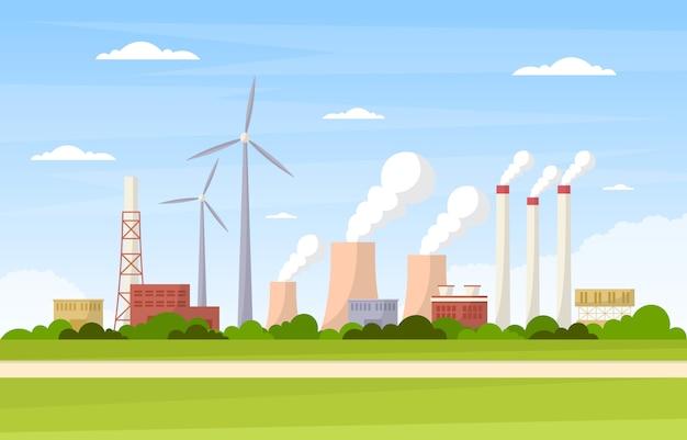 Przemysłowy fabryczny pojęcie budynku produkcj udostępnień terenu krajobrazu mieszkania ilustracja