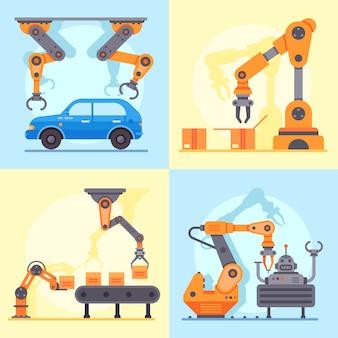 Przemysłowy przenośnik fabryczny. ramię mechaniczne do zarządzania produkcją automatyki, zestaw ramion robotów