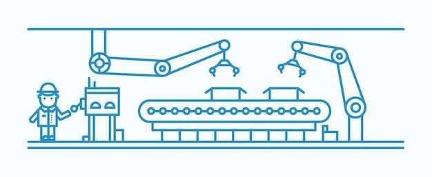 Przemysłowy przenośnik taśmowy wyposażony w zrobotyzowane ramiona przenoszące skrzynie i pracownik fabryki