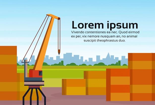 Przemysłowych ładunków logistyk pojęcia wysyłki magazynu żółty dźwigowy pejzaż miejski