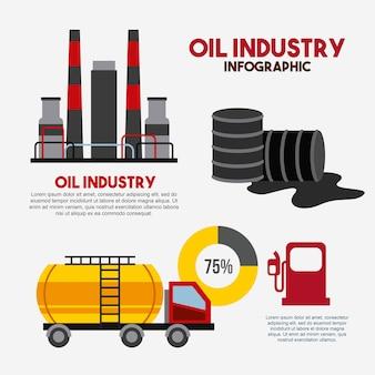 Przemysłu naftowego infographic fabryki transportu baryłkę stacji benzynowej