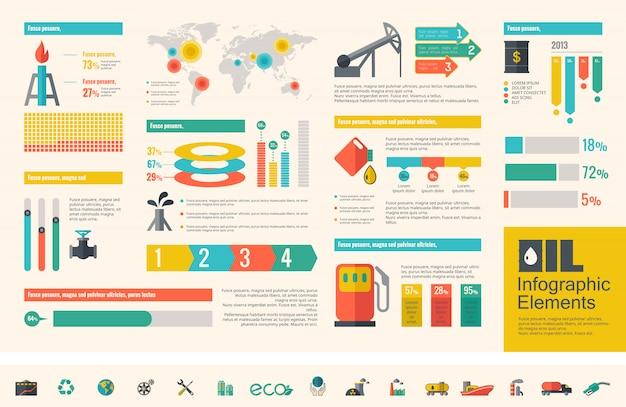 Przemysłu paliwowego infographic szablon