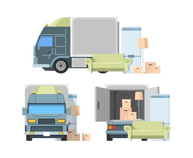 Przenieś kontener do ciężarówki. ładowanie pakietów w ruchu z ilustracji wektorowych usługi transportu ładunków do domu. przewóz mebli, dostawa kartonów i usługi relokacji