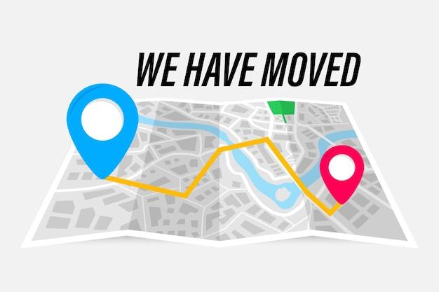 Przenieśliśmy koncepcję ilustracji wektorowych. składana mapa papierowa ze wskazaniem adresu ruchomego. trasa na mapie. przenieśliśmy nowe biuro, zmieniliśmy lokalizację nawigacji adresowej.