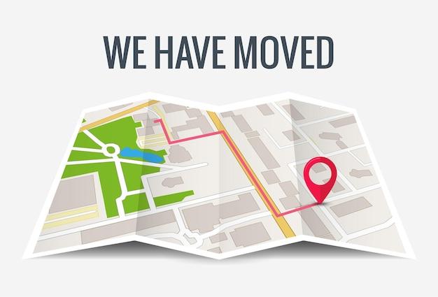 Przenieśliśmy nową lokalizację ikony biura. adres przenieś, zmień lokalizację, ogłoszenie, mapa główna firmy.