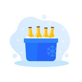 Przenośna chłodziarka do lodu z butelkami po napojach