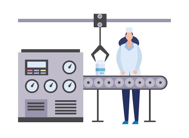 Przenośnik fabryki produkcji mleczarskiej z pracującą kobietą, mieszkanie na białym tle. sprzęt przemysłowy i pracownik fabryki żywności.