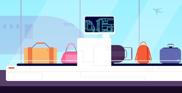 Przenośnik lotniskowy. skaner ładunku, prześwietlenie bagażu, kontrola bagażu. zabezpieczenia terminalu, ilustracja wektorowa kontroli bagażu. bagaż lotniskowy, lotnictwo, kontrola rentgenowska