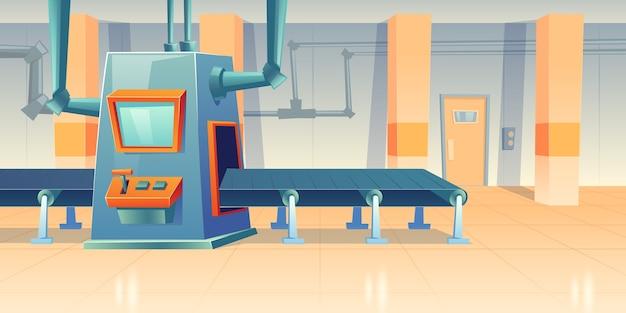 Przenośnik taśmowy i maszyna montażowa w fabryce, zakładzie lub magazynie. kreskówka wnętrze linii produkcyjnej warsztatu z zautomatyzowanymi maszynami. sprzęt inżynieryjny w manufakturze