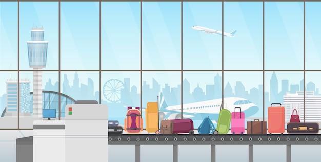 Przenośnik taśmowy w nowoczesnej hali lotniska. kreskówka odbioru bagażu