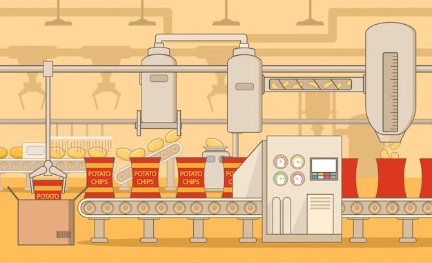 Przenośniki do chipsów ziemniaczanych. zakład przemysłowy. maszyna do produkcji fast foodów i torebek do pakowania. ziemniaki warzywne.