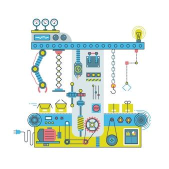 Przenośnikowy system robotyczny z manipulatorami. płaski proces technologiczny