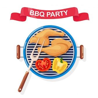 Przenośny okrągły grill ze smażonymi skrzydełkami z kurczaka, grillowane warzywa na białym tle. urządzenie do grillowania na piknik, przyjęcie rodzinne. ikona grill. koncepcja wydarzenia cookout. ilustracja