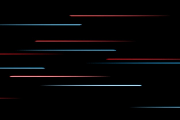 Przenoszenie abstrakcyjnych linii neonowych w przestrzeni. streszczenie niebieskie i czerwone linie neonowe w przestrzeni