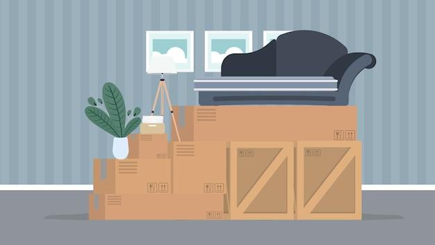 Przenoszenie banera do domu. przeprowadzić się do nowego miejsca. drewniane pudełka, pudełka kartonowe, sofa, roślina doniczkowa, lampa podłogowa. odosobniony. .