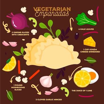 Przepis empanada z ilustrowanymi składnikami