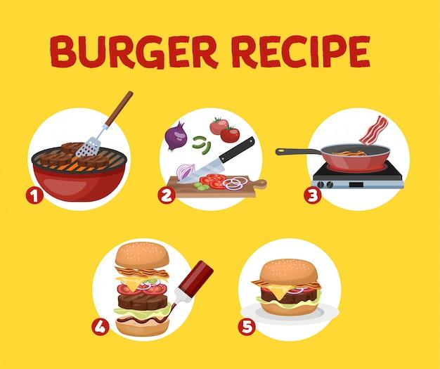 Przepis na domowy burger. gotowanie amerykańskich fast foodów w domu. na obiad smaczny świeży posiłek. ilustracja