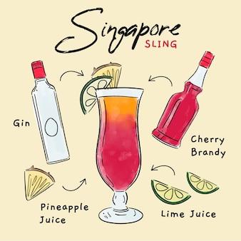 Przepis Na Koktajl Singapurski Darmowych Wektorów