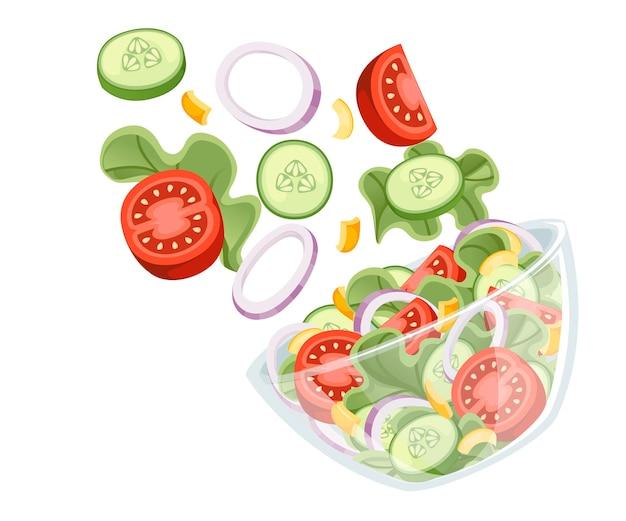 Przepis na sałatkę warzywną. sałatka spada do przezroczystej miski. świeże warzywa kreskówka projekt żywności. płaskie ilustracja na białym tle