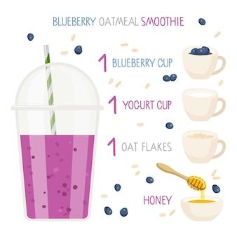 Przepis na smoothie z jagodami i płatkami owsianymi plastikowy kubek na smoothie ze składnikami