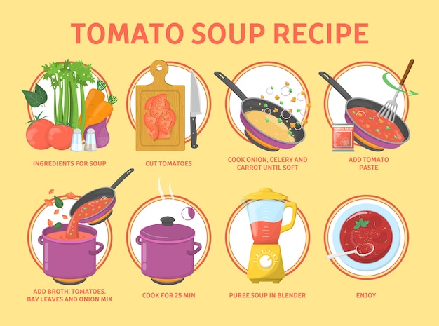 Przepis na zupę pomidorową. gotowanie smacznego jedzenia w domu