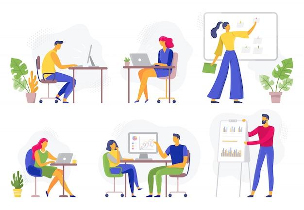 Przepływ pracy w biurze. pracujący ludzie biznesu, zdalna praca zespołowa i pracownicy zespalają się współpracę płaskiego ilustracja set