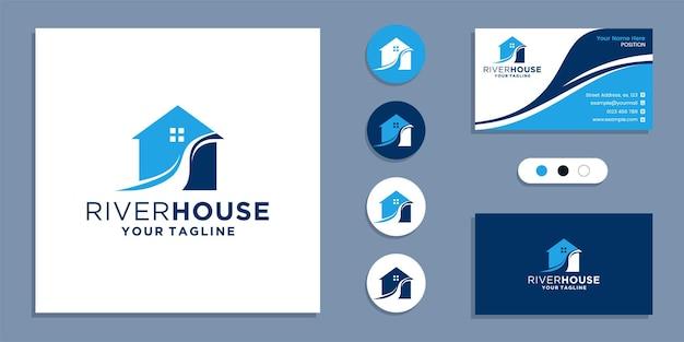 Przepływ rzeki z logo domu i inspiracją do projektowania wizytówek